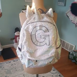 """Justice """"G"""" unicorn backpack and lunch bag."""